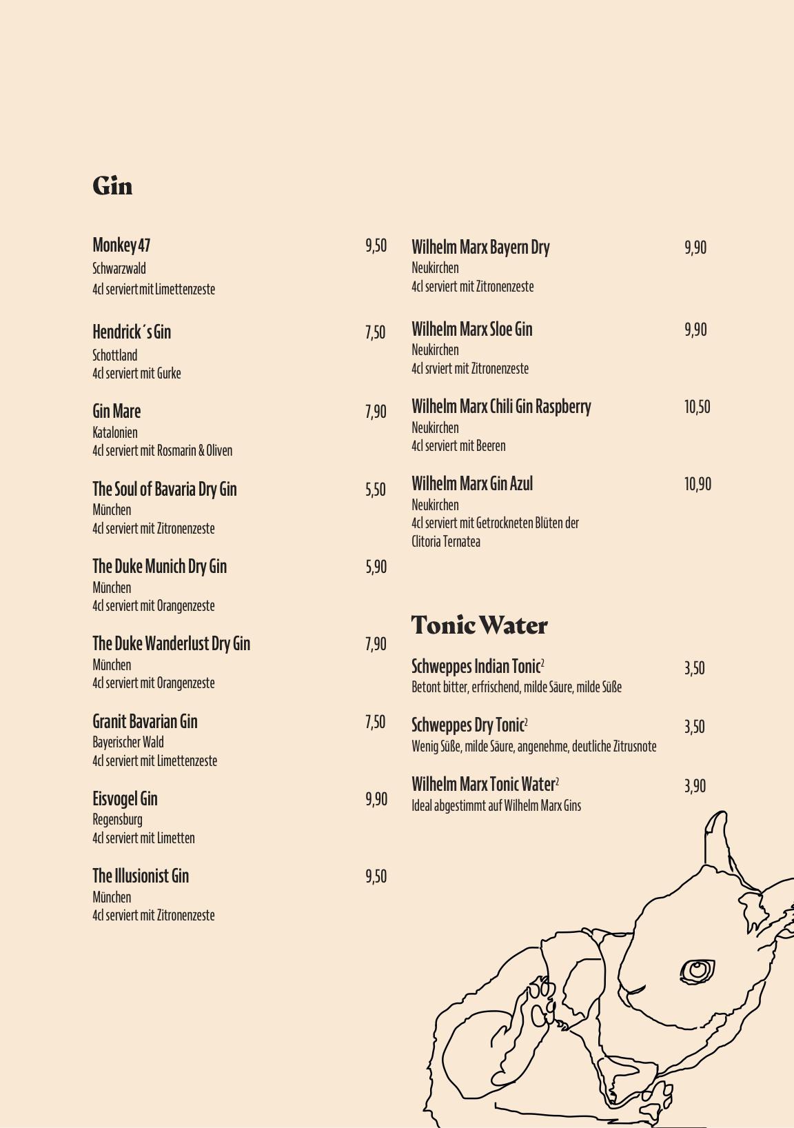Gin Karte Gänsbauer