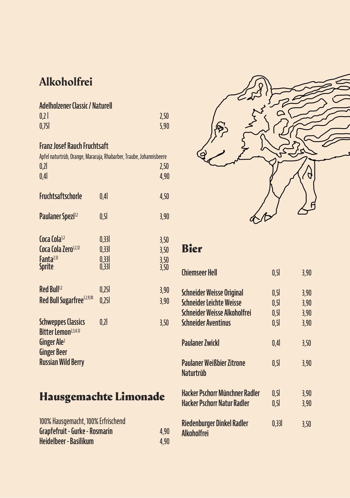 Getränkekarte Restaurant